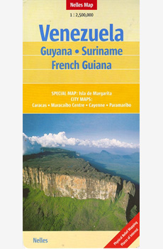 Map of Venezuela, Guyana, Suriname, French Guiana