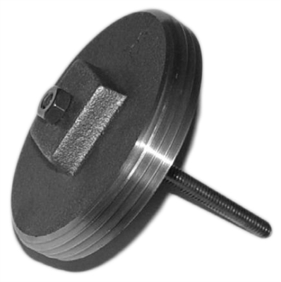 "Metcraft 16556 A216-4 S/S Pinned Brass Cleanout Plug 4"" for placement behind the toilet."