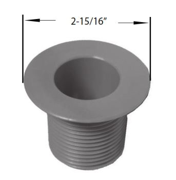 "1"" PVC Bar Drain with 1-3/8"" Gray Shank"