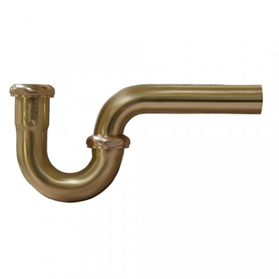 "Polished Brass 1-1/4"" Brass Tubular P-Trap"