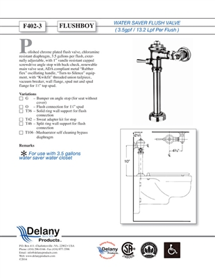 Delany F402-3-T42 Flush Boy Commode Flush Valve 3.5 GPF