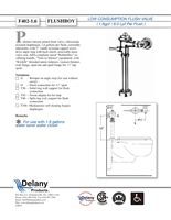 Delany F402-T42-1.6 Flush Boy Commode Flush Valve 1.6 GPF