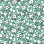30432-13 Juniper Berry Teal Poinsettias