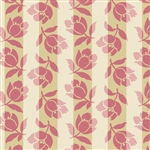 Pink/Tan Tossed Flower Stripe
