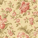 8614-L Crystal Farm  Coral Cream Floral