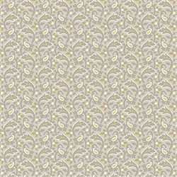 7991-L Gray & Gold Paisley Leaf