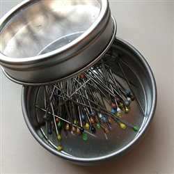 TIN OF JAPANESE GLASS HEAD PINS