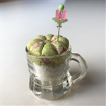 Antique Child's Glass Mug Pincushion
