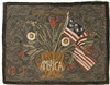American Floral Hooked Rug Canvas