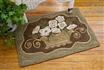 Ferns & Roses Rug Canvas on Linen