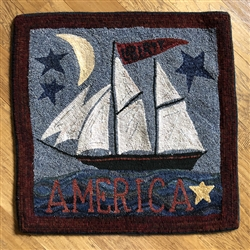 America Ship Hooked Rug Canvas on Linen