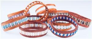 Bead and Copper Bangle - Narrow  OUT OF STOCK