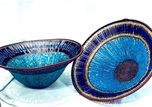 Beaded Lampshade Bowl - Blue
