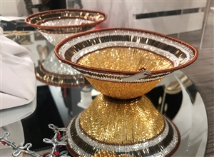 Beaded Lampshade Bowl  - Gold
