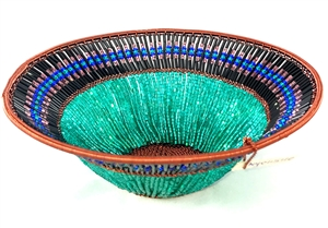 Beaded Lampshade Bowl  - Green