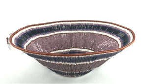 Beaded Lampshade Bowl  - Purple