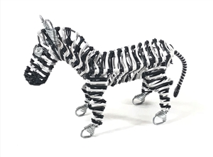 "<!070>Telephone Wire Animal - zebra - size: 4.25"" x 7.5"""