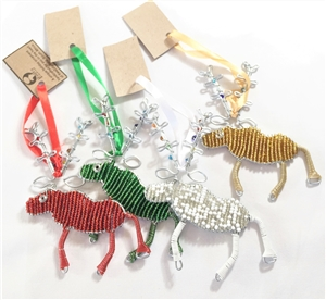 Beaded xmas reindeer ornament -    OUT OF STOCK