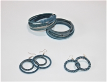Spiral Bracelets & Earrings - Blue
