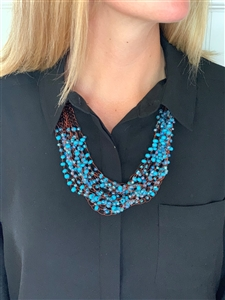 <!01>Copper and Bead Strand Necklace - Turquoise