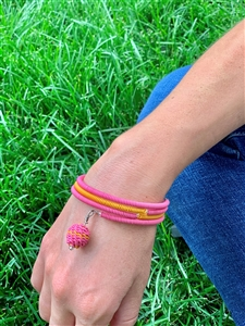 Spiral Color block Bracelet with woven beaded ball - Honey Suckle