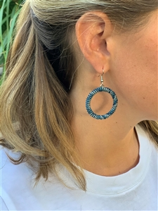 <!005>Spiral Chunky Hoop Earring - Blues