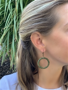 Earring Chunky Hoop - Green Tile