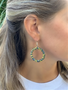 <!005>Spiral Chunky Hoop Earrings - Indigo Lemon