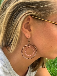 Earring Striped Hoop - Brandy Snaps