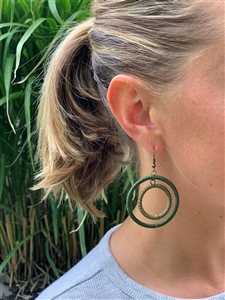 <!003>Earring Striped Hoop - Green tile