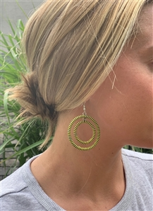 Earring Striped Hoop - Indigo Lemon