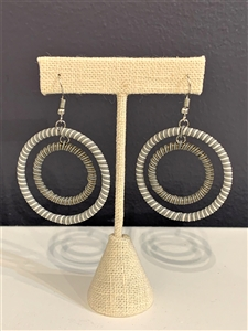 Earring Striped Hoop - Winter Blues