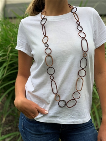 Spiral Ring Necklace Long - Burnt Clay