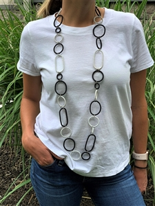Spiral Ring Necklace Long - Black/White