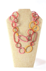 Spiral Ring Necklace Long - Honey Suckle