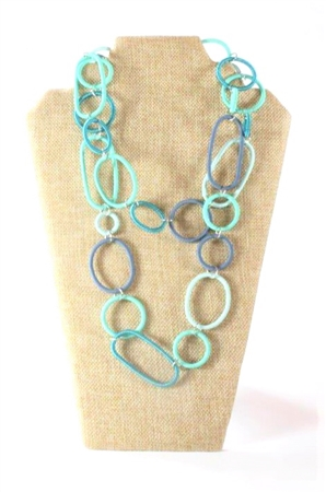Spiral Ring Necklace Long - Marine