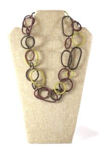 Spiral Ring Necklace Long - Plum