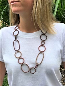Spiral Necklace Striped  - Brandy Snaps