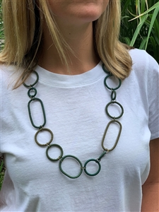 Spiral Necklace Striped  - Green Tile