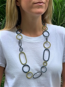 Spiral Necklace Striped  - Indigo Lemon