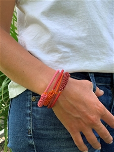 Spiral Bracelet-Honeysuckle (Red/Orange)