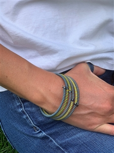 Spiral Bracelets Striped -  Indigo Lemon