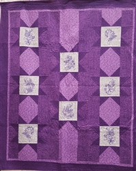 Warm Winter Stars - Flowers with birds and butterflies and dragonflies  - Lap Quilt Kit - FLANNEL