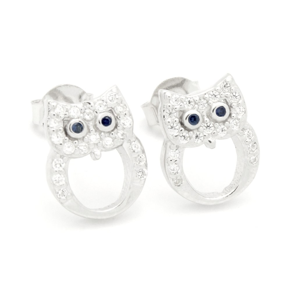 Mcer1071 Silver Cz Blue Eyes Owl Stud Earrings