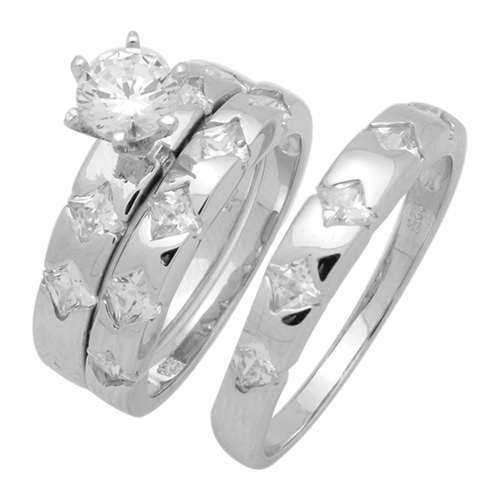 Sterling Silver Cz Wedding Ring Sets