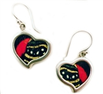 Corazon or Heart  Butterfly wing earrings, by Silver Tree Designs