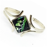 Embracing Wing Cuff featured in Green and Black -  Sterling Silver