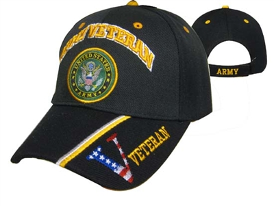 Army Veteran V Baseball Cap Black