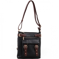 Concealed Carry Lock and Key Crossbody Handbag: Black