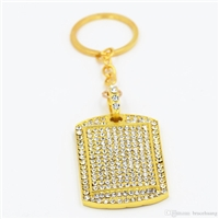 Gold Crystal Dog Tag Pendant